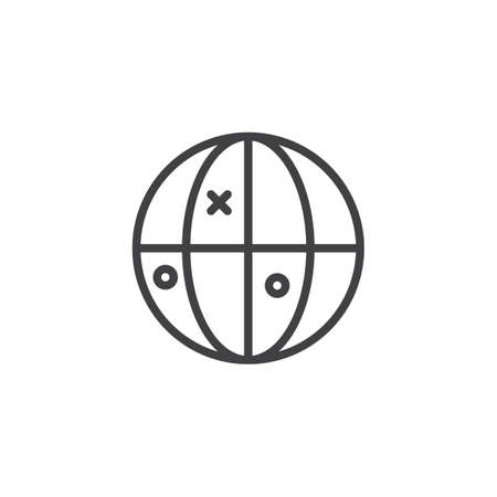 Geolocalization outline icon. linear style sign for mobile concept and web design. Earth globe with marker simple line vector icon. Symbol, logo illustration. Pixel perfect vector graphics Vettoriali
