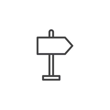 Right Road sign outline icon. linear style sign for mobile concept and web design. Signpost simple line vector icon. Symbol, logo illustration. Pixel perfect vector graphics