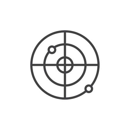 Gps Radar outline icon. linear style sign for mobile concept and web design. Radar screen  simple line vector icon. Symbol, logo illustration. Pixel perfect vector graphics