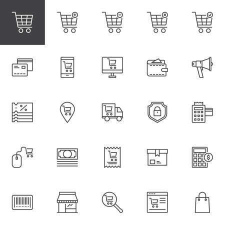 Online shopping outline icons set. linear style symbols collection, line signs pack. vector graphics. Set includes icons as Shopping cart, Credit card, Shop, Wallet, Megaphone, Coupon, Delivery truck