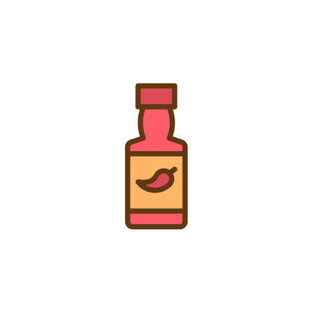Chili sauce bottle filled outline icon, line vector sign, linear colorful pictogram isolated on white. Hot Spicy Chili Pepper Sauce symbol, logo illustration. Pixel perfect vector graphics