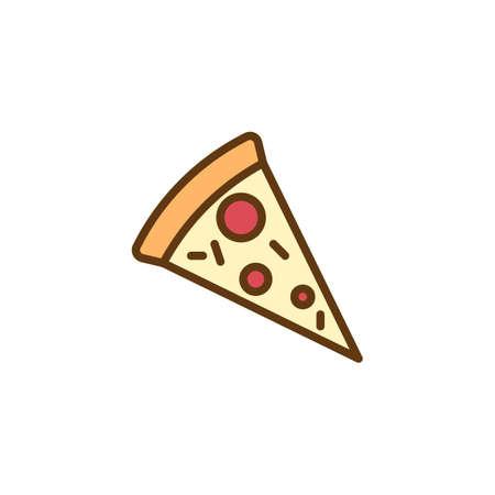 Icona di contorno riempito fetta di pizza, segno di vettore di linea, pittogramma colorato lineare isolato su bianco. Simbolo della pizza, illustrazione logo. Pixel perfetta grafica vettoriale