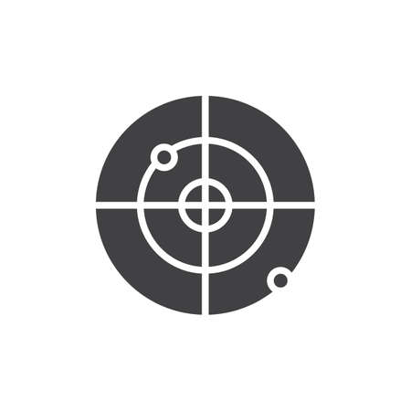 Gps Radar vector icon. filled flat sign for mobile concept and web design. Radar screen simple solid icon. Symbol, logo illustration. Pixel perfect vector graphics Illustration