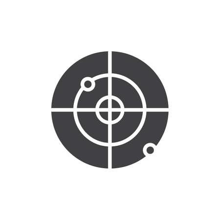 Icono de vector de radar GPS. signo plano lleno para concepto móvil y diseño web. Icono sólido simple de la pantalla de radar. Símbolo, ilustración de logotipo. Gráficos vectoriales perfectos para píxeles