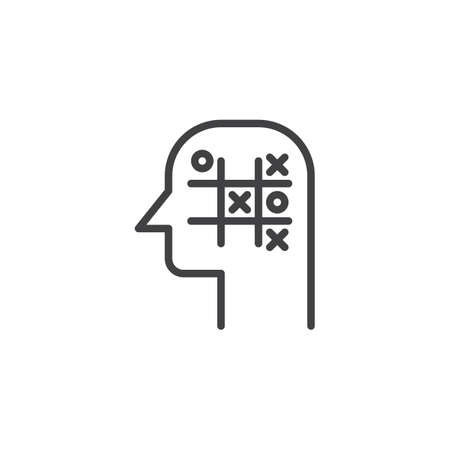 Tic tac toe head outline icon. linear style sign for mobile concept and web design. Strategy think simple line vector icon. Symbol, logo illustration. Pixel perfect vector graphics Çizim