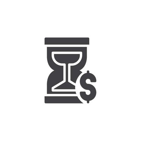 Time is money vector icon. filled flat sign for mobile concept and web design. Hourglass and dollar simple solid icon. Symbol, logo illustration. Pixel perfect vector graphics
