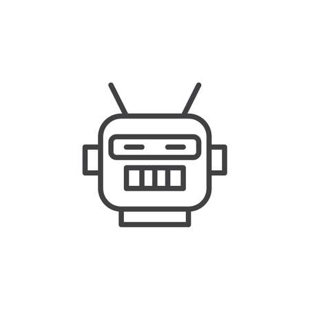 Robot mask outline icon. linear style sign for mobile concept and web design. Robot Costume party line vector icon. Bot symbol, logo illustration. Pixel perfect vector graphics Ilustração