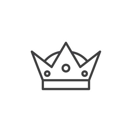 Crown outline icon. linear style sign for mobile concept and web design. King line vector icon. VIP symbol, logo illustration. Pixel perfect vector graphics Vectores