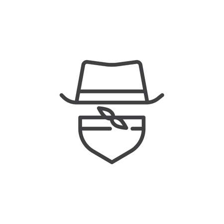 Gangster hat and tie outline icon. linear style sign for mobile concept and web design. Costume party simple line vector icon. Symbol, logo illustration. Pixel perfect vector graphics Çizim