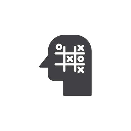 Tic tac toe head vector icon. filled flat sign for mobile concept and web design. Strategy think simple solid icon. Symbol, logo illustration. Pixel perfect vector graphics Çizim