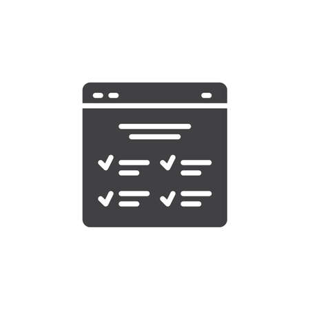 Checklist browser vector icon. filled flat sign for mobile concept and web design. Completed tasks simple solid icon. Symbol, logo illustration. Pixel perfect vector graphics