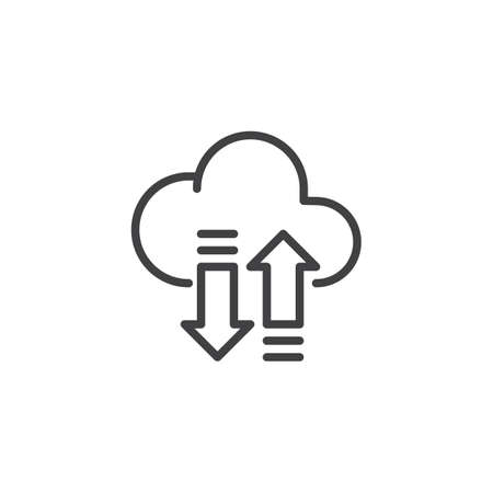 Cloud with Transfer Arrows outline icon. linear style sign for mobile concept and web design. Cloud storage sync simple line vector icon. Symbol, logo illustration. Pixel perfect vector graphics