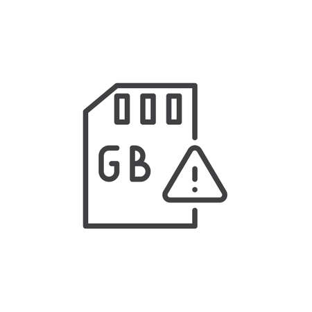 Gb Sd card and exclamation mark outline icon. linear style sign for mobile concept and web design. gigabyte memory card simple line vector icon. Symbol logo illustration. Pixel perfect vector graphics Illustration
