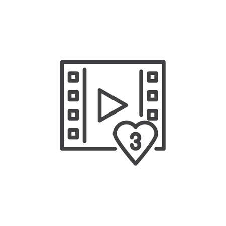Video like heart notification outline icon. linear style sign for mobile concept and web design. Social Media simple line vector icon. Symbol, logo illustration. Pixel perfect vector graphics