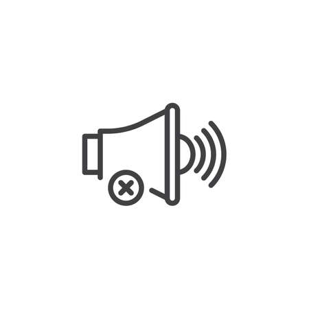 No sound notification outline icon. linear style sign for mobile concept and web design. Mute voice simple line vector icon. Symbol, logo illustration. Pixel perfect vector graphics 写真素材 - 107290516