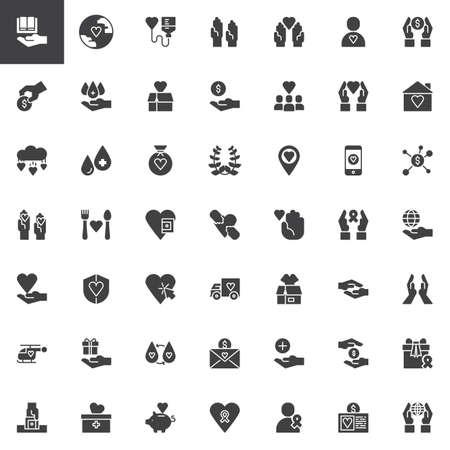 Ensemble d'icônes vectorielles de charité, collection de symboles solides modernes, pack de pictogrammes de style rempli. Signes, illustration du logo. L'ensemble comprend des icônes comme don de sang, volontaire, don, laurier, amour, camion de livraison Logo