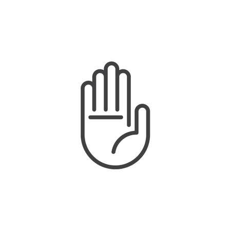 Hand stop sign outline icon. Vectores
