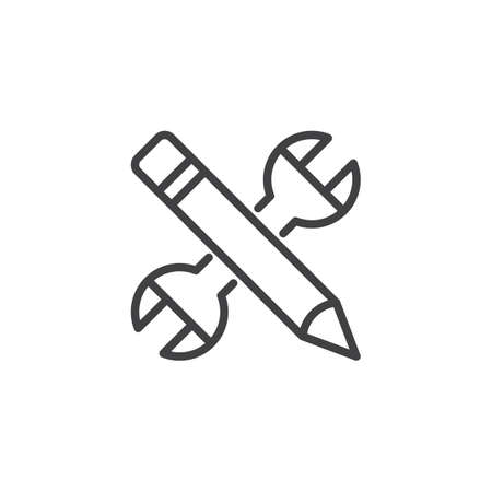 Wrench and pencil outline icon.