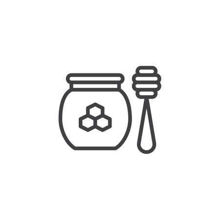 Honey jar with spoon outline icon. linear style sign for mobile concept and web design. Honey ladle simple line vector icon. Beekeeping symbol, logo illustration. Pixel perfect vector graphics