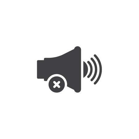 No sound notification vector icon. filled flat sign for mobile concept and web design. Mute voice simple solid icon. Symbol, logo illustration. Pixel perfect vector graphics  イラスト・ベクター素材
