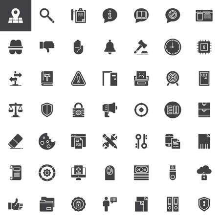 General Data Protection Regulation vector icons set modern solid symbol collection, filled style pictogram pack. Signs logo illustration. Set includes icons as GDPR, Address, Transparency, Information
