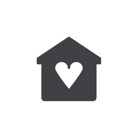 Home with heart vector icon. filled flat sign for mobile concept and web design. Love house simple solid icon. Symbol, logo illustration. Pixel perfect vector graphics