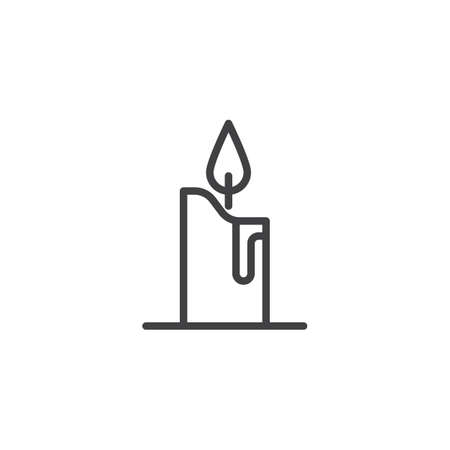 Candle light outline icon. linear style sign for mobile concept and web design. Burning candle line vector icon. Symbol, logo illustration. Pixel perfect vector graphics