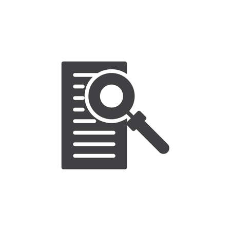 Document with magnifying glass vector icon. filled flat sign for mobile concept and web design. Invoice solid icon. Document search symbol, logo illustration. Vector graphics Illustration