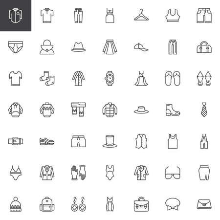 Clothes outline icons set. linear style symbols collection, line signs pack. vector graphics. Set includes icons as Polo shirt, Jeans, Dress, Hanger, Underpants, Handbag, Bowler hat, Skirt Socks Ilustração Vetorial