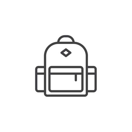 Backpack outline icon. linear style sign for mobile concept and web design. rucksack simple line vector icon. Symbol, logo illustration. Pixel perfect vector graphics Stock Illustratie