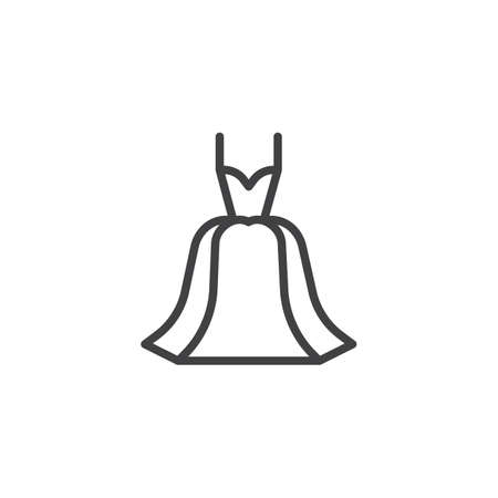 Dress outline icon. linear style sign for mobile concept and web design. Evening gown simple line vector icon. Symbol, logo illustration. Pixel perfect vector graphics
