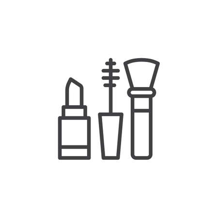 Lipstick mascara and brush outline icon. linear style sign for mobile concept and web design. Makeup set simple line vector icon. Symbol, logo illustration. Pixel perfect vector graphics