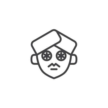 Cucumber slices on face outline icon. linear style sign for mobile concept and web design. facial cleansing simple line vector icon. Symbol, logo illustration. Pixel perfect vector graphics Logo
