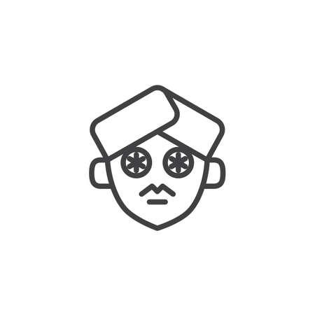 Tranches de concombre sur l'icône de contour de visage. signe de style linéaire pour le concept mobile et la conception web. Icône de vecteur ligne simple nettoyage du visage. Symbole, illustration du logo. Graphiques vectoriels parfaits pixel Logo
