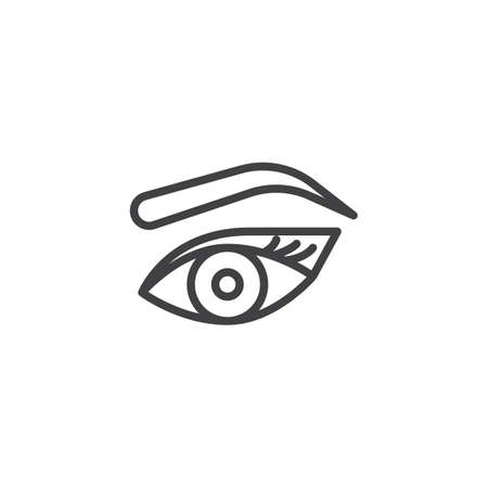 Womans eye, eyebrow and eyelashes outline icon. linear style sign for mobile concept and web design. Makeup Look simple line vector icon. Symbol, logo illustration. Pixel perfect vector graphics Banque d'images - 107977321