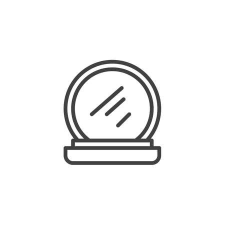 Make-up-Puder-Umriss-Symbol. Lineares Zeichen für mobiles Konzept und Webdesign. Gesicht kosmetische einfache Linie Vektor-Symbol. Symbol, Logoillustration. Pixelperfekte Vektorgrafiken