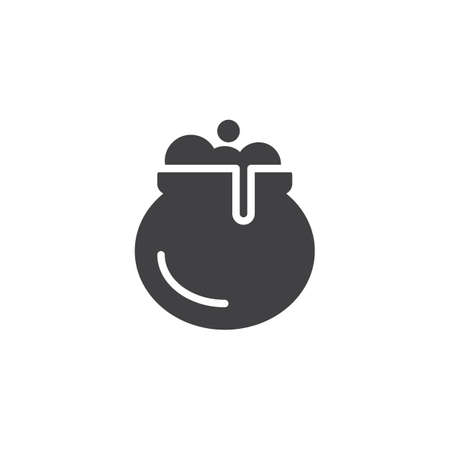 Witches cauldron vector icon. filled flat sign for mobile concept and web design. Pottage, soup solid icon. Symbol, logo illustration. Pixel perfect vector graphics