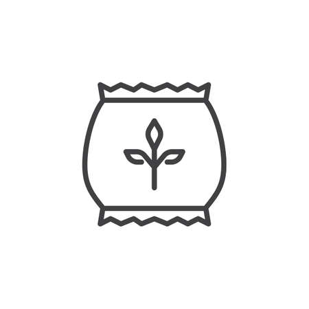 Fertilizer bag outline icon. linear style sign for mobile concept and web design. Seed bag line vector icon. Symbol, logo illustration. Pixel perfect vector graphics Illustration