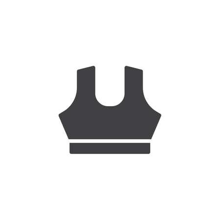Dames sportbeha vector pictogram. gevuld plat bord voor mobiel concept en webdesign. Gym BH solide pictogram. Symbool, logo illustratie. Pixel perfecte vectorafbeeldingen