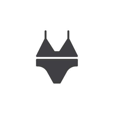 Bikini bra vector icon. filled flat sign for mobile concept and web design. lingerie simple solid icon. Swimsuit symbol, logo illustration. Pixel perfect vector graphics 向量圖像