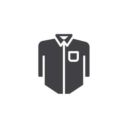 Long sleeve shirt with pocket vector icon. filled flat sign for mobile concept and web design. Mens shirt solid icon. Symbol, logo illustration. Pixel perfect vector graphics Logo