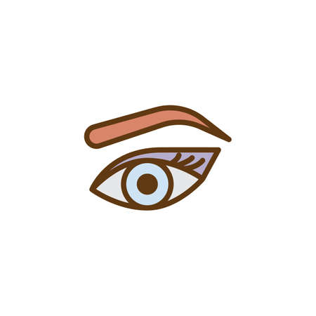 Womans eye, eyebrow and eyelashes filled outline icon, line vector sign, linear colorful pictogram isolated on white. Makeup Look symbol, logo illustration. Pixel perfect vector graphics