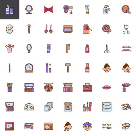 Make-up and Beauty filled outline icons set, line vector symbol collection, linear colorful pictogram pack. Signs, logo illustration, Set includes icons as Lipstick, Facial mask, Mascara, Cosmetics
