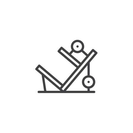 Leg press machine outline icon. linear style sign for mobile concept and web design. training apparatus simple line vector icon. Symbol, logo illustration. Pixel perfect vector graphics