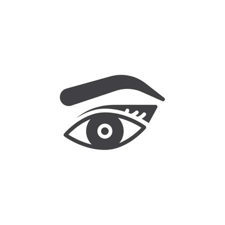 Womans eye, eyebrow and eyelashes vector icon. filled flat sign for mobile concept and web design. Makeup Look simple solid icon. Symbol, logo illustration. Pixel perfect vector graphics Banque d'images - 108322939