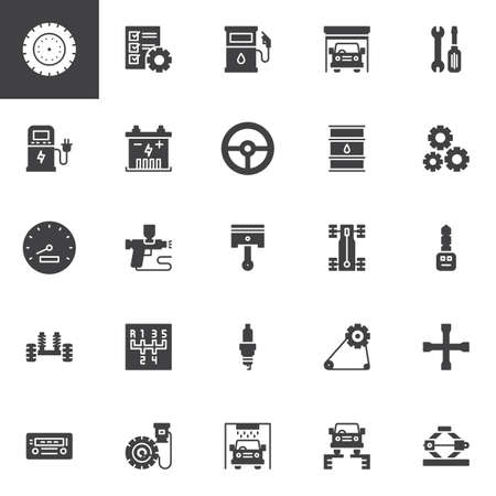 Car service vector icons set, modern solid symbol collection, filled style pictogram pack. Signs, illustration. Set includes icons as Tire, Garage, Piston, Steering wheel, Speedometer, Chassis Vector Illustratie