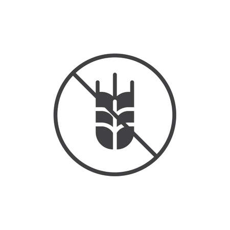 Gluten free label vector icon. filled flat sign for mobile concept and web design. No wheat simple solid icon. Symbol, logo illustration. Pixel perfect vector graphics
