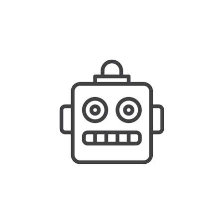 Robot emoji outline icon. linear style sign for mobile concept and web design. Chatbot smiley simple line vector icon. Symbol, logo illustration. Pixel perfect vector graphics