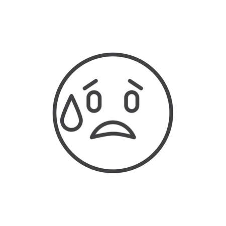Embarrassed emoticon outline icon. linear style sign for mobile concept and web design. Worried emoji simple line vector icon. Symbol, logo illustration. Pixel perfect vector graphics Vettoriali