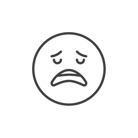 Disappointed face emoji outline icon. linear style sign for mobile concept and web design. Depressed and sad emoticon simple line vector icon. Symbol, logo illustration. Pixel perfect vector graphics Stock Illustratie